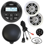 "Marine Audio Package Kit of Milenna PRV17 Marine Gauge Style AM/FM Radio Stereo Receiver With Protective Cover Bundle Combo W/ 1 Pair (total of 2) 6.5"" Coaxial Speaker + Waterproof Remote Control + Enrock USB/AUX To RCA Cable + 22"" Radio Antenna"