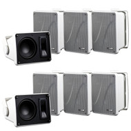 "8 X Kicker 11KB6000B White Full Range indoor/outdoor Weather Resistant 6.5"" Inch Marine Boat Enclosed Box Speakers"