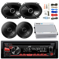 """JVC KDR480 Car Radio USB AUX CD Player Receiver - Bundle Combo With 2x 250W 6x8"""" inch 2-Way Coaxial Car Audio Speakers + 2x 6.5-Inch Speakers + 4-Channel Bluetooth Amplifier + Amp Kit"""