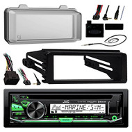JVC KDR97MBS Marine Radio Stereo Receiver For 1998-2013 Harley Davidson Touring Flht Flhx Flhtc Bundle With Metra Adapter Dash Kit + Weathershield Cover + Handle Bar Control + Enrock Wire Antenna
