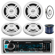 "Kenwood KMR-M318BT In-Dash Marine Boat Audio Bluetooth USB Receiver Bundle Combo With 4x Enrock EKMR1672W 6.5"" White Dual-Cone Stereo Speakers + Radio Antenna + 16g 50FT Marine Speaker Wire"