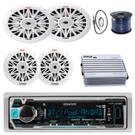"Kenwood Marine Receiver, Pyle Dual 6.5'' Marine Speakers, Pyle 6""x9"" Marine Speakers (white), Pyle Marine Amplifier (White), Enrock Marine Antenna 22"" (Black), Enrock Marine 50Ft 16G Speaker Wire"