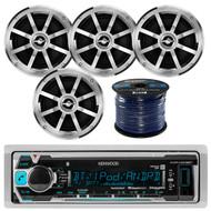 "Kenwood KMR-M318BT Marine Boat Yacht Radio USB AUX Stereo Receiver Bundle Combo W/ 4x Jensen MSX60CPR 6.5"" Inch 2-Way Coaxial Speakers + Enrock 50 Foot 16g Speaker Wire"