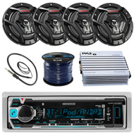 "Kenwood KMR-M318BT Marine Boat Yacht Radio Stereo Receiver Bundle Combo With 4x JVC CS-DR6200M 6.5"" 2-Way Coaxial Speakers + 360-Watt Amplifier + Enrock Radio Antenna + 50 Foot 16g Speaker Wire …"