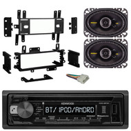 "Kenwood KDC118 Car CD MP3 Player Receiver - Bundle Combo With Kicker 4x6"" Inch 300-Watt Black Coaxial Speakers + Installation Dash Kit + Radio Wiring Harness For Select 1976-1996 GM Vehicles"
