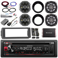 Kenwood CD Mp3 Harley FLHTC Adapter Install Kit Kicker Speaker Amplifier Set