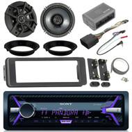 "Sony CD/USB  CDXG3100UP Black Radio, Install Harley 98-2013 FLHTC Adapter Kit w Scosche Handlebar Control Interface,Kicker 43CSC654 600-Watt 6-1/2"" Inch CS Series 2-Way Black Car Coaxial Speakers (Pair)"