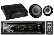 "Pioneer USB CD iPod Bluetooth Car Radio, Amplifier, 6.5"" Kenwood 2Way Speakers"