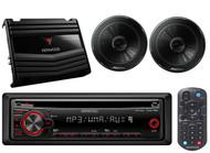 "Kenwood 400W Amplifier, 6.5""Black 250W Speaker Set, Kenwood CD AUX Mp3 Car Radio"
