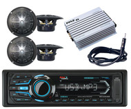 Boss USB Bluetooth AM FM iPod Radio,400W Amplifier,Antenna,4 Black Boat Speakers
