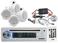 "Pyle Marine USB CD AUX Receiver,1200W Amplifier,4 Marine 6.5""Wake Board Speakers"