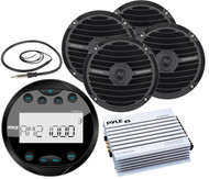 "Black Round AUX Bluetooth Boat Radio,6.5""Full Range Speakers, Antenna, Amplifier"