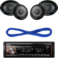 """Pioneer DEHS6000BS CD/MP3 Bluetooth Receiver Aux Input USB Multicolor Illumination With Remote, Kenwood KFC-1665S 6 1/2"""" Sport Series 2-Way Flush Mount Coaxial Car Speakers, Kenwood 6X9"""" 3-Way Speaker 550W, 14 Gauge 50 Foot Speaker Wire"""