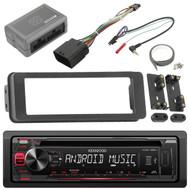KDC125U AM FM USB CD Radio, Harley 98-2013 Touring FLHX Install Adapter Dash Kit