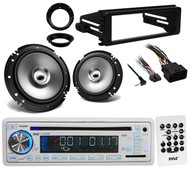 "6.5""Speakers/Adapters, Harley Install FLHT FLHX 98-2013 Adapter, CD Marine Radio"