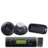 """New Pyle Package Marine Boat USB MP3 SD MMC WB Radio /Pair 6.5"""" Speakers +Cover"""