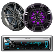 "Kenwood Bluetooth USB CD iPod AUX Marine Radio &2 Kicker 6.5""LED Marine Speakers"