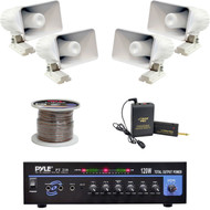 """PT210 Mono Mic Amplifier, PA 6"""" Horn Speakers, Speaker Wire, Lavalier Mic System"""