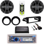 "AMB600W CD USB Radio, 99-9600 Harley FLHT DIN Kit, Amp, Kicker 6.5"" Speaker Set"