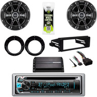 Kenwood Bluetooth Radio, Kicker Speaker Set, Harley FLHT DASH Install Kit, Amp