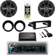 "Kenwood USB Bluetooth-Harley FLHX Install DIN Kit, Amp, Kicker 6.5"" Speaker Set"