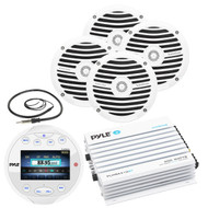 "Pyle Circle Bluetooth USB AUX Marine Radio,Amplifier,Antenna,6.5""Marine Speakers"
