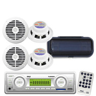 """200W New Indash Marine Boat MP3 WB Radio Player + 4 6.5"""" White Speakers W/Cover"""
