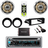 "Bluetooth CD Stereo, Harley FLHT Install Kit, 300W Amp, 6.5"" Speakers, Adapters"
