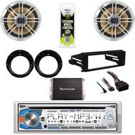 """CD Dual Stereo- Harley FLHT Install DIN Kit, Amp, 6.5""""Polk Speakers, Adapters"""