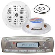 4 x 45 Watt JBL MR18.5 AM/FM Radio Waterproof Marine Stereo Receiver, PLMR41W Pyle 4'' Dual Cone Waterproof White Stereo Speaker System, EKMR1 Enrock Marine Black Wire Antenna