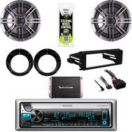 """Kenwood Bluetooth Stereo,300W Amp, Harley FLHT Install Dash Kit,6.5"""" Speaker Set"""