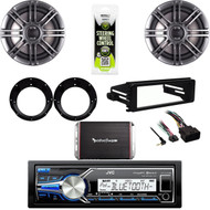 "JVC Marine USB Stereo, Harley FLHTC DIN Adapter Kit, 300W Amp, 6.5"" Speaker Set"