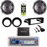 """Dual CD Stereo, Harley 98-2013 FLHX Dash Kit, 300W Amp, Polk 6.5"""" Speaker Set"""