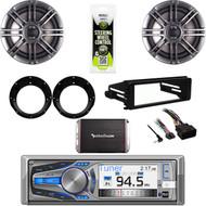 "Dual Bluetooth Stereo,Harley 98-2013 Dash FLHT Kit, 300W Amp, 6.5"" Speaker Set"