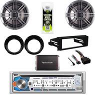 """98-2013 FLHTC Harley DIN Adapter Kit-CD Stereo, 300W Amp, Polk 6.5"""" Speaker Set"""