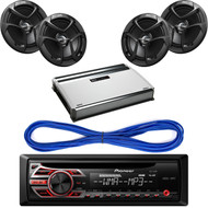 "Pair CSJ620 JVC 6.5"" Car Audio 2-WAY Coaxial Speakers System (Black), Pioneer DEH150MP CD MP3 Playback AM/FM Radio Single Din Car Receiver with Remote, 14 Gauge 50 Foot Speaker Wire, Mbquart Nautic 4Ch 360W Amplifier"