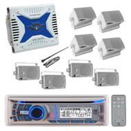 Marine Outdoor Dual USB CD MP3 Bluetooth AUX Radio 800W Amplifier,8 Box Speakers