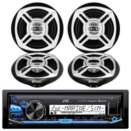 "JVC KD-X35MBS iPod & Android Digital Media Bluetooth Marine, Powersport Car Receiver, Enrock Marine Boat 6.5"" Inch Dual-Cone Black/Chrome Stereo Speakers"