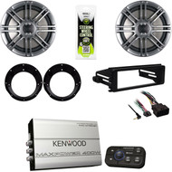 "Kenwood Bluetooth Marine Amplifier, FLHX Harley DIN Install Kit, 6.5""Speaker Set"