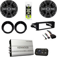 Bluetooth Kenwood Amplifier, Kicker Speaker Set, 98-2013 Harley FLHX Install Kit