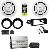 "Kenwood 6.5"" Speaker Set, XM Tuner, 98-2013 Harley FLHX DIN Kit, Bluetooth Amp"