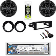 "Dual CD Bluetooth Stereo, Harley FLHX Install DIN Adapter Kit, 6.5"" Speaker Set"