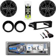 """Bluetooth CD Mp3 Radio, Harley FLHX FLHT DIN Install Kit, Kicker 6.5""""Speaker Set"""