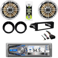 "Dual CD Stereo, Harley 98-2013 FLHT FLHX Install Din Kit, 6.5""Speakers, Adapters"