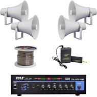 """PT210 Mono 120W Amplifier,11"""" PA Horn Speakers,Speaker Wire, Lavalier Mic System"""