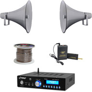 "16"" 80W PA Horn Speakers, Lavalier Mic Set, Bluetooth USB Mini Amp, Speaker Wire"