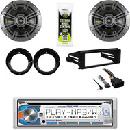 """CD Bluetooth Stereo, Kicker 6.75"""" Speaker Set , Harley FLHX FLHT Install Dash Kit"""