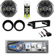 "AM615BT CD Radio, Harley FLHX FLHT Dash Install Kit, 6.75"" Speakers/ Adapters"