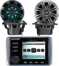 "Kicker KMC10 All In One Powersports Outdoor Stereo Radio Media Center With 3.5"" Full Color LCD Display, Kicker 41KM84LCW 8"" KM Series Coaxial Marine Speakers w/ LED Lights, Pair Kicker 41KM44CW 4"" 2-Way KM Series 4-Ohm Coaxial Marine Speakers"