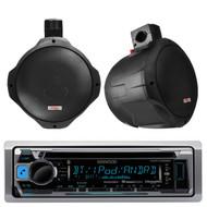 """2 Black 6.5"""" MCM Marine Wakeboard Speakers& Kenwood CD USB Pandora AM FM Radio"""